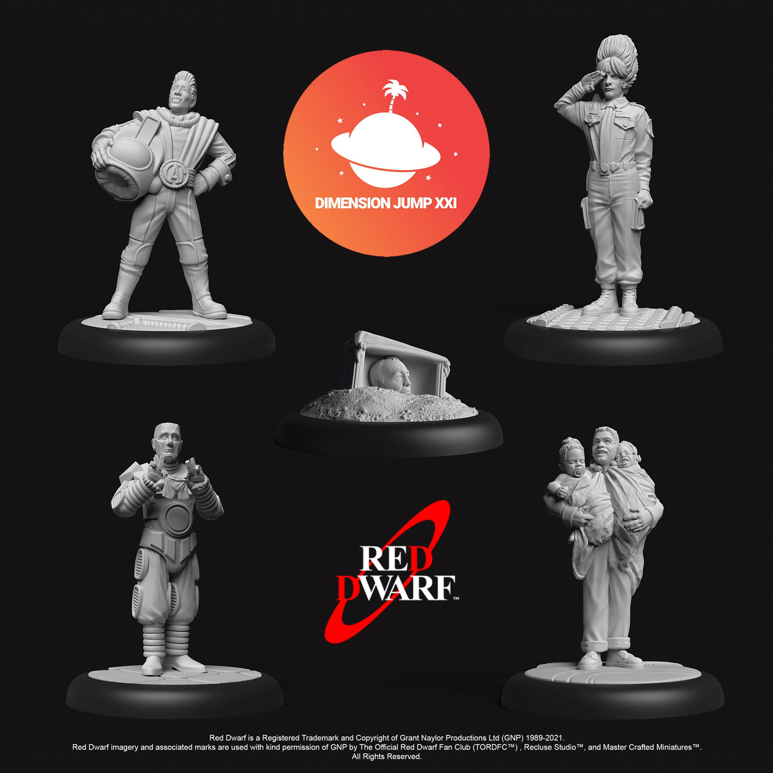 A computer-generated rendering of the new Red Dwarf miniatures