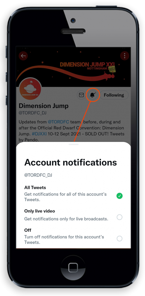 """Screenshot of the Twitter mobile app, showing the """"account notifications"""" screen"""