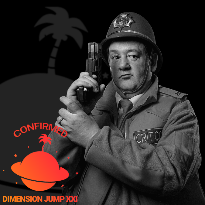 A portrait of Johnny Vegas, in character as Timewave's Crit Cop